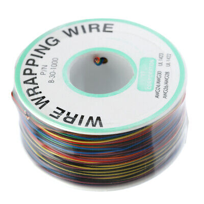 250M 8-Wire Colored Insulated 30-1000 30AWG Wire Wrapping Cable Wrap Reel J0U9