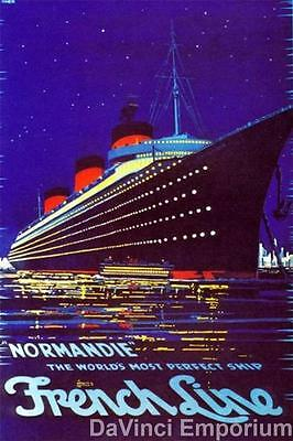 Normandie French Line Vintage Poster Fine Art Lithograph Herkomer S2