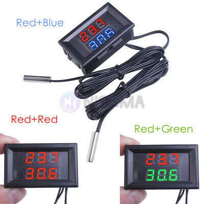 DC4-28V Dual LED Display Digital Temperature Sensor NTC Metal Probe Thermometer