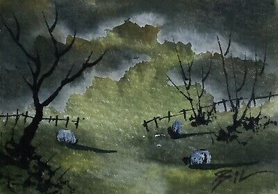 ACEO ATC original art miniature painting ' Sheep in a Storm ' by Bill Lupton