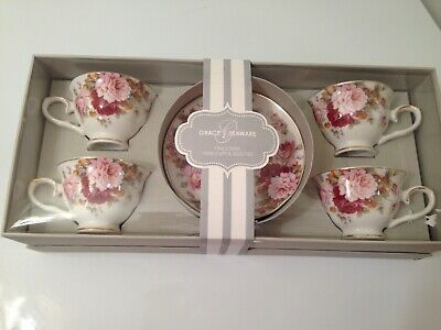 Grace's Teaware Espresso  Demi Cup & Saucer Rose Set  8pcs In Box W/Cover NEW