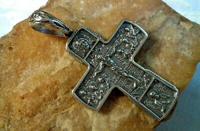 "Large Sterling Silver ""925"" Orthodox Crucifix Holy Face Of Jesus, Mother Of God"
