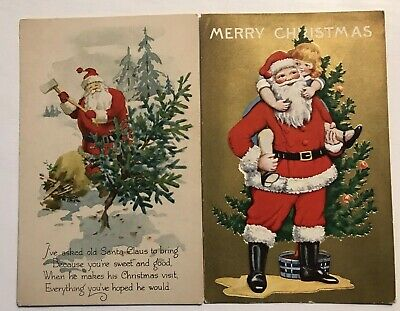 Nice~Lot of 2 SANTA CLAUS~ Vintage Antique CHRISTMAS Postcards-Tree-Child-c-544