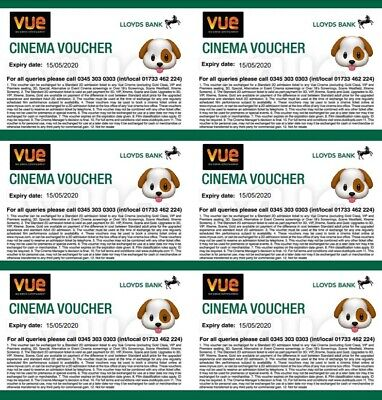 6 Vue Cinema Tickets - Expiry 15/05/2020 - Club Lloyds - Royal Mail 1st Signed