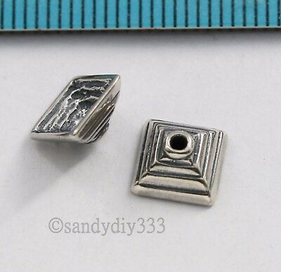 2x BALI OXIDIZED STERLING SILVER SQUARE BEAD CAP 7.5mm SPACER BEAD #2841