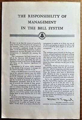 American Telephone & Telegraph Ad 1943-48 Reponsibility Management Bell System