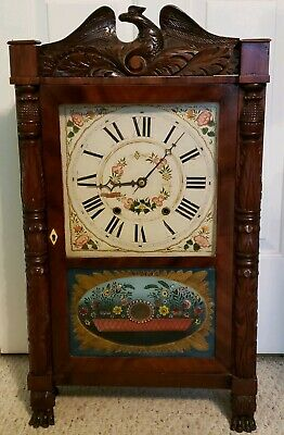 Antique 1830 SETH THOMAS Plymouth Conn. Pillar & Splat Wood Works Mantel Clock