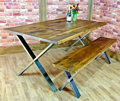 Industrial Reclaimed X Frame Dining Table And Bench Set Vintage Kitchen Table