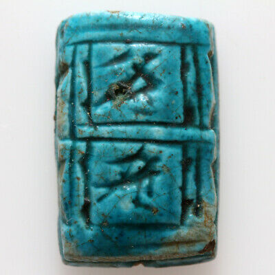 Rare Egyptian Blue Glazed Double Sided Bead Seal Circa 1000-500 Bc