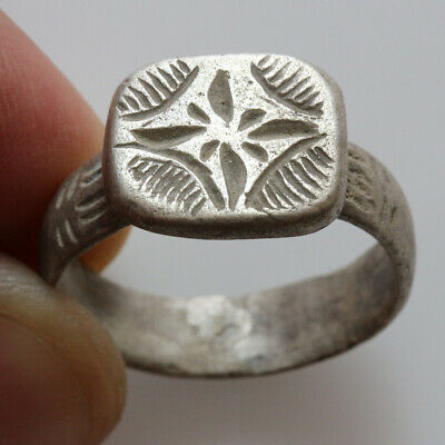 Scarce-Geometric Period Silver Decorated Ring Circa 700 Bc