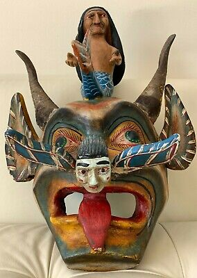 Exceptional Large Antique Carved Wood Folk Art Hand Made & Painted Figures Mask