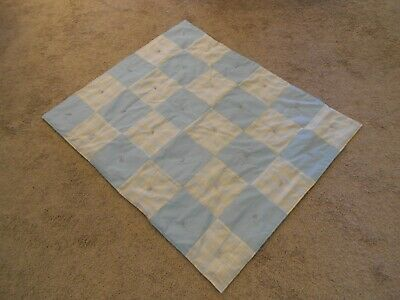 "Handmade Infant Quilted Crib Blanket Blue/Beige/Pink 39"" x 46"""