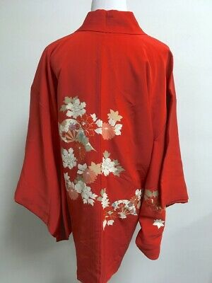 Vintage Japanese Red Silk Floral Tie Kimono Jacket S M