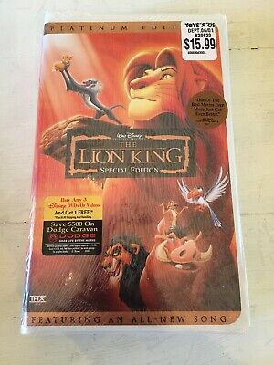 New & Sealed! Walt Disney The Lion King Platinum Special Edition Disney VHS Tape