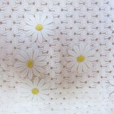 Vintage 1960s Womens White Cotton Lace & Daisy Broderie Top & Skirt  Set  UK 8