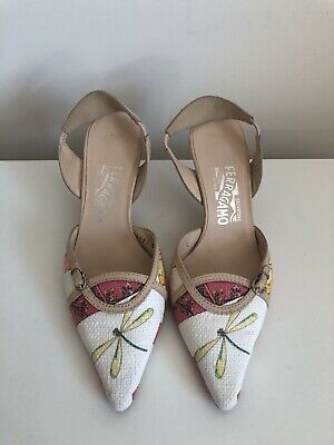 SALVATORE FERRAGAMO shoes Size 5 Slingback Dragonfly Canvas Wedding Occasion