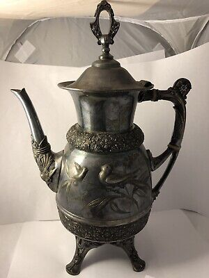 1881 MERIDEN B CO NO#1924 EXQUISITE HIGH RELIEF SILVERPLATE COFFEE POT 052319aB@