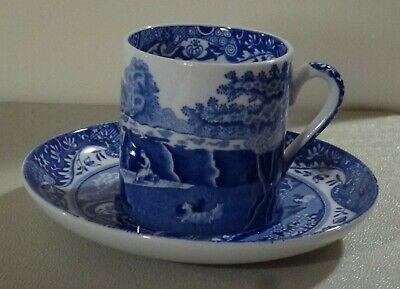 Spode Italian pattern blue & white coffee can cup & saucer display use