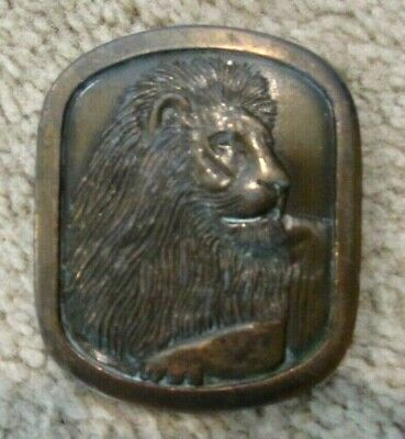 Vintage Heavy Lion Head Belt Buckle Brass Tone Indiana Metal Craft 1976