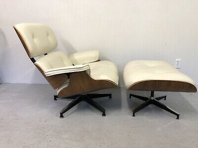 Herman Miller Eames Lounge Chair Ottoman White Walnut
