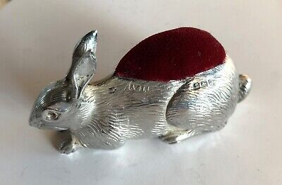Nadelkissen Hase 925 Silber Silver Pin Cushion 1912