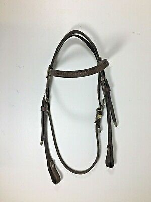 Brown Leather Western Browband Headstall Silver Show Buckles Basketweave