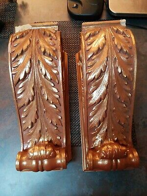 Pair of VINTAGE FRENCH Decorative Carved CORBEL/Wall Shelf, Gold Acanthus Leaf