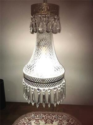 Vintage 1960'S Era Hollywood Regency Cut Glass Crystal Swag Lamp