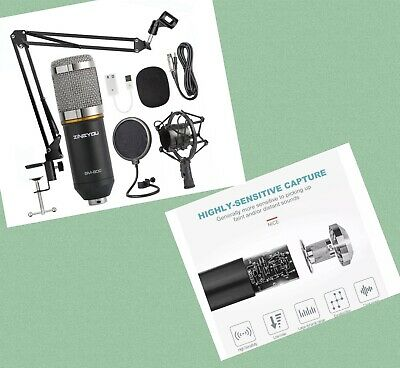 ZINGYOU Condenser Microphone Bundle, BM-800 Mic Kit with Adjustable Mic Suspe...