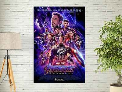 "Avengers 4 End Game SIGNATURE Poster 2019 Marvel Movie Art Print 24x36"" 27x40"""