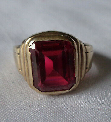 Antique Art Deco Men's 10K Yellow Gold Red Ruby Ring 4.2 grams size 7