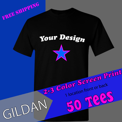 3b811caf 50 CUSTOM SCREEN Printed T-Shirts Any Color Front & Back 1 Color ...
