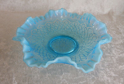 Jefferson Glass Blue Opalescent Many Loops Bowl Vintage Antique