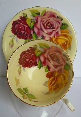 STUNNING AYNSLEY TEA CUP AND SAUCER w HUGE RED PINK YELLOW ROSES