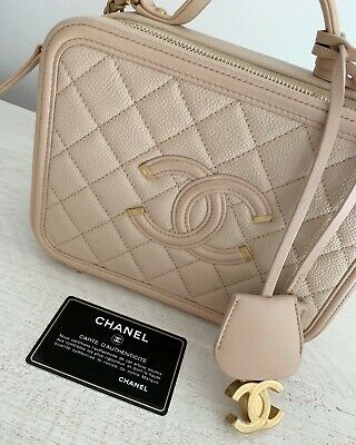 9d838519d727 Chanel Vanity Case Caviar Quilted Medium Cc Filigree Beige Cross Body Bag