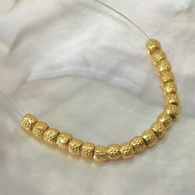 18K Gold Vermeil over Sterling Silver 20 Thai Hill-tribe Beads 1.60 g 3-Micron