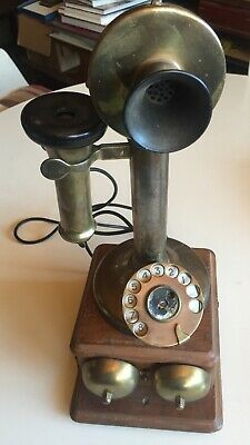 england brass candlestick telephone with box