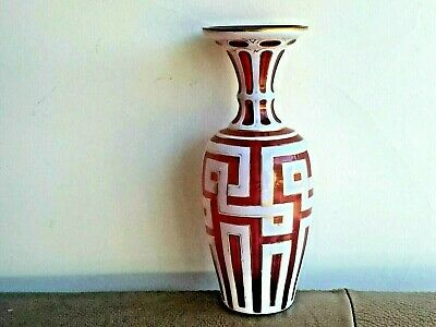 GORGEOUS ANTIQUE EARLY 19th C BOHEMIAN MOSER ART GLASS VASE W/ GOLD