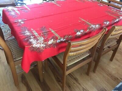 Vintage California Hand Print MCM Christmas Red Tablecloth Candles Pine