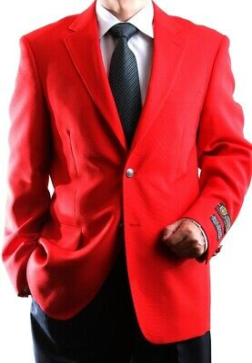 Mens Two Button Red Superior 100 Blazer, Sml-J60312C-350-Red