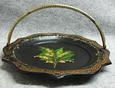 Black Lacquer Painted Lily of Valley Papier Mache Dish Mother of Pearl Antique