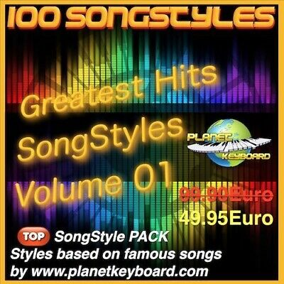 100 Styles pour Yamaha Tyros PSR-SX GREATEST HITS SONGSTYLES VOL 01 Song Styles