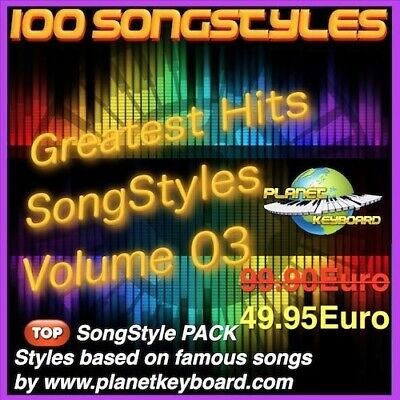 100 Styles pour Yamaha Tyros  PSR-SX GREATEST HITS SONGSTYLES VOL 03 Song Styles