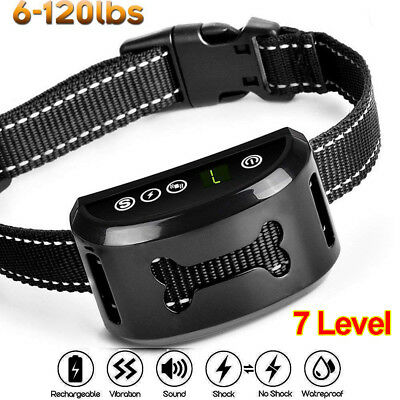 Auto Anti Bark Collar Stop Dog Barking Waterproof Rechargeable Shock/safe 7mode