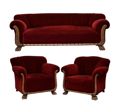 Original Regency Mahogany Framed Oversize Lion Hair Paw Feet Sofa Armchair Suite