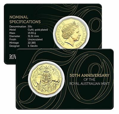 2015 UNC 50c 50th Anniversary of Royal Australian Mint Gold Plated Coin on Card