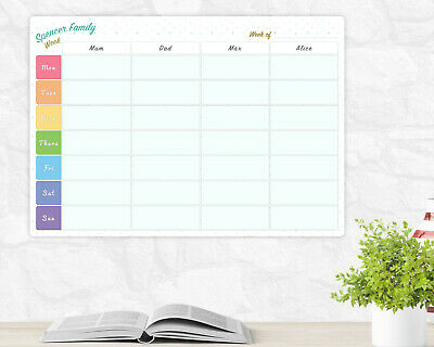 graphic relating to Weekly Family Planner titled A3 Weighty Personalized Rainbow Dry Wipe Whiteboard Weekly Relatives Planner Board