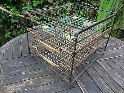 vintage retro 3 filing trays office desk top rack drawers fits A4 paper