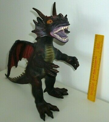 Action Figures Toy Major Rubber Dragon Metallic Blue Gold Standing Figure 2007 Medieval Monster