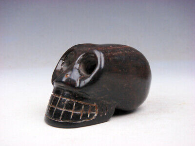 Old Nephrite Jade Stone Carved Sculpture Human Skull Skeleton #05261901